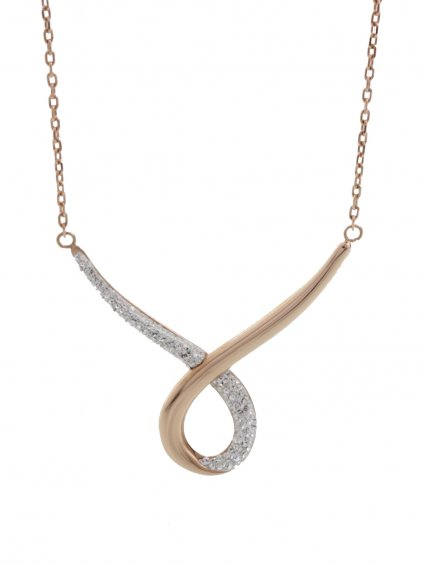 J61300470RGCR Ocelový náhrdelník Smyčka s kameny Swarovski® Rose Gold