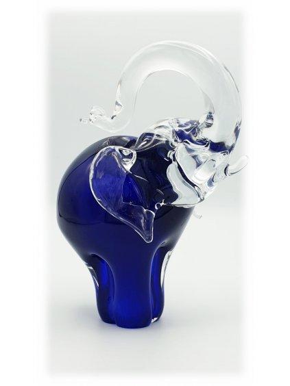 Skleněný slon malý modrý