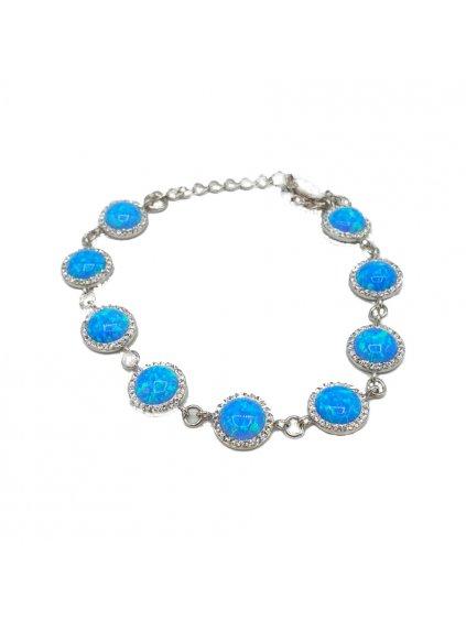 Stříbrný náramek Opálový Swarovski blue