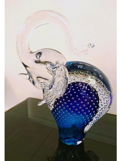 Skleněný slon velký modrý bublina