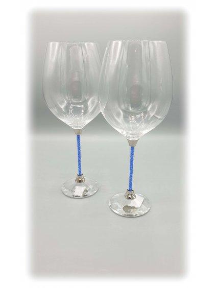 SW01BL 10010 Křišťálové sklenice na víno s modrými krystalky Swarovski® SW01BL