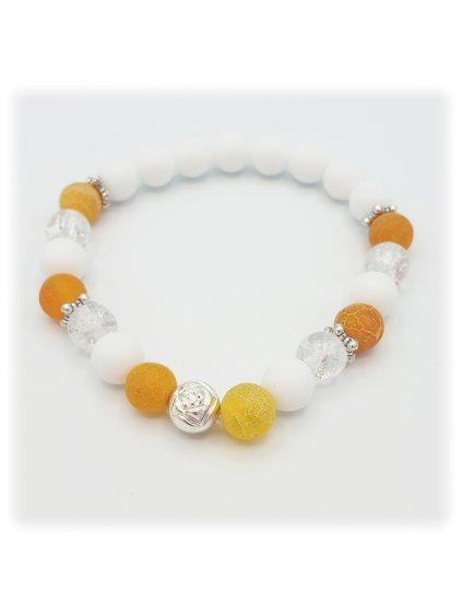 Minerální náramek Achát oranžovo bílý s kameny Swarovski®