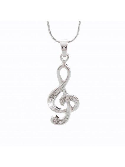 Náhrdelník Houslový klíč s kameny Swarovski® Crystal
