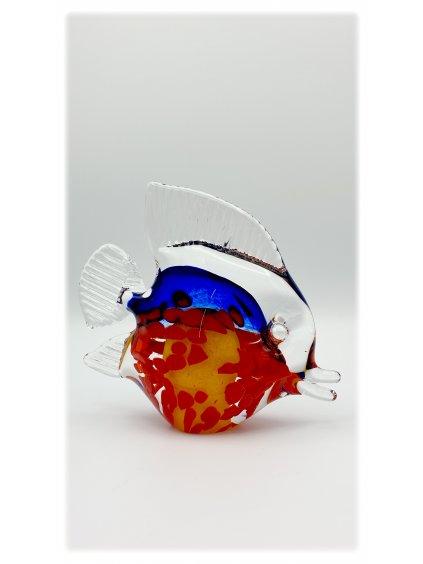 Skleněná ryba červeno-modrá