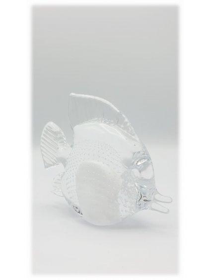 Skleněná ryba bílá s bublinkami