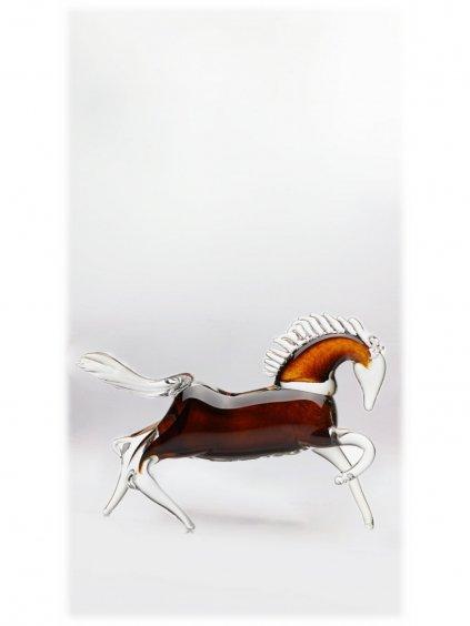 Skleněný kůň v běhu velký - hnědý