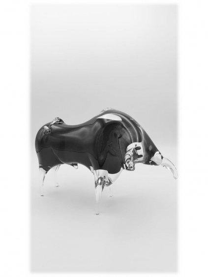 Skleněný býk velký - černý