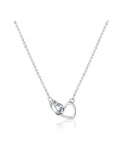 svln0051xd50045Stříbrný náhrdelník 2 Srdce pouto lásky