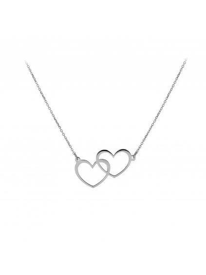 svln0150xh20045Stříbrný náhrdelník Dvojité Srdce