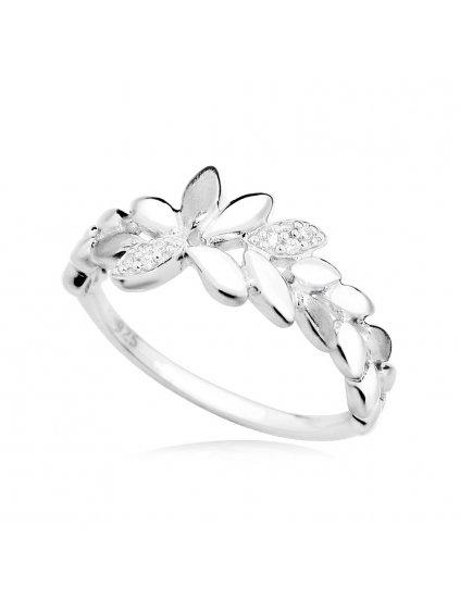 svlr0139sh8bi53Stříbrný prsten Okvětní lístky se zirkony