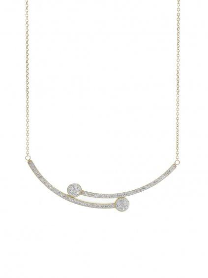 J61300472G Ocelový náhrdelník Vara Swarovski® Gold Crystal