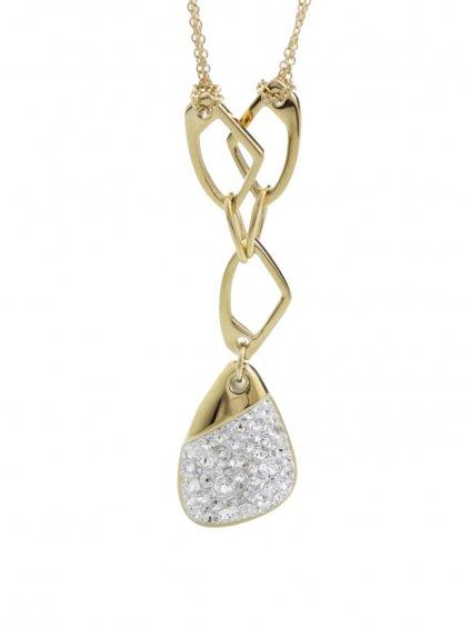J61300474GCR Ocelový náhrdelník Specific 3 s kameny Swarovski® Gold Crystal