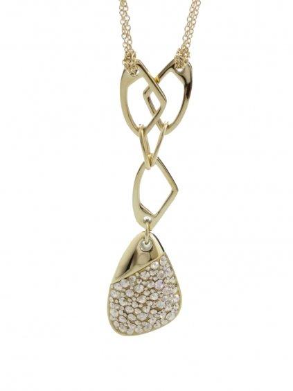J61300474GG Ocelový náhrdelník Specific 3 s kameny Swarovski® Gold