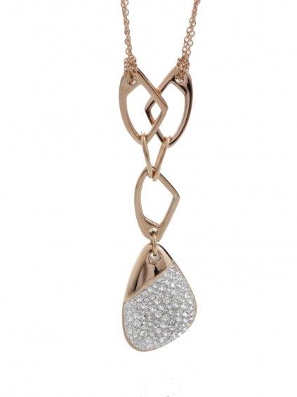 J61300474RG Ocelový náhrdelník Specific 3 s kameny Swarovski® Rose Gold