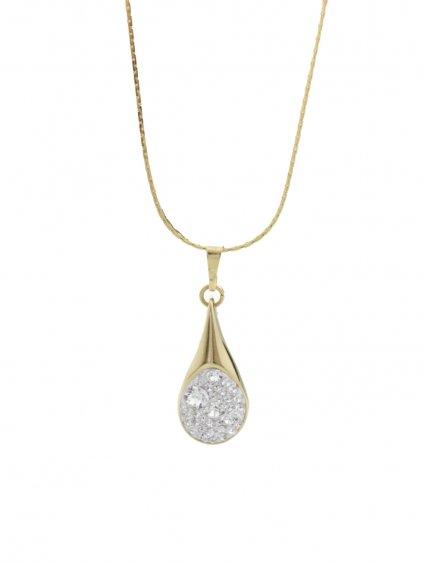 61300476gcr Ocelový náhrdelník Drop s kameny Swarovski® Gold Crystal