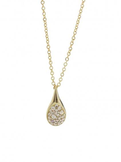 61300476gg Ocelový náhrdelník Drop s kameny Swarovski® Gold