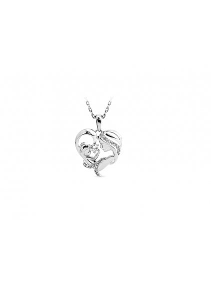 SVLPO692XH2B100Stříbrný přívěsek Maminka s miminkem v srdci se zirkony