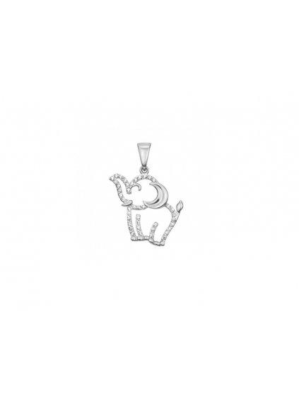 Stříbrný přívěsek Sloník se zirkony SVLP0687XH2B100