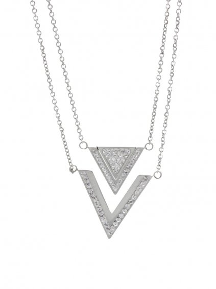 J61300477CR Ocelový náhrdelník Triple s kameny Swarovski® Crystal