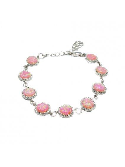 Stříbrný náramek Opálový Swarovski Pink