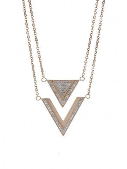 J61300477RG Ocelový náhrdelník Triple s kameny Swarovski® Rose Gold