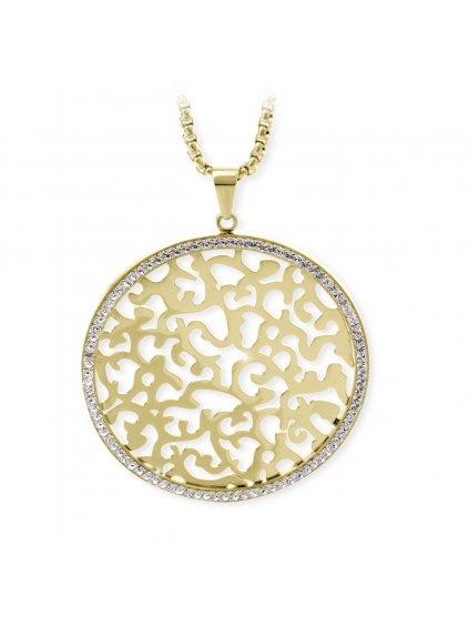J61300479G Ocelový náhrdelník Ornament s kameny Swarovski® Gold