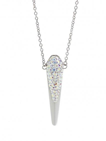 61300488ab Ocelový náhrdelník se Swarovski® kameny Dlouhá špička