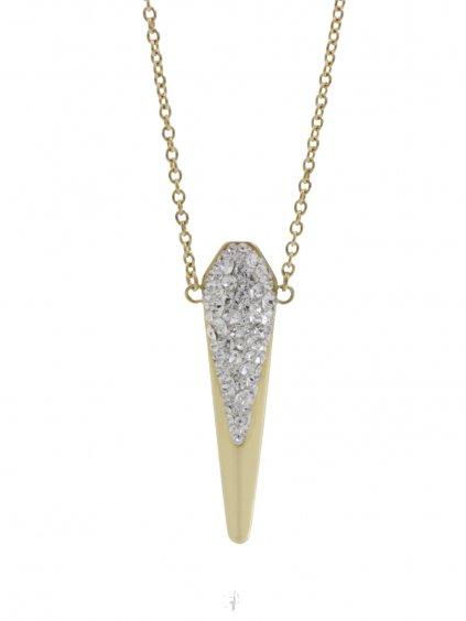 J61300488gOcelový náhrdelník se Swarovski® kameny Dlouhá špička gold