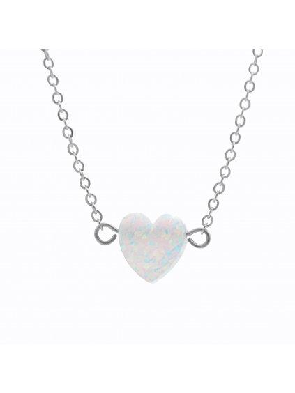 J61300931whOcelový náhrdelník Srdíčko opálové white