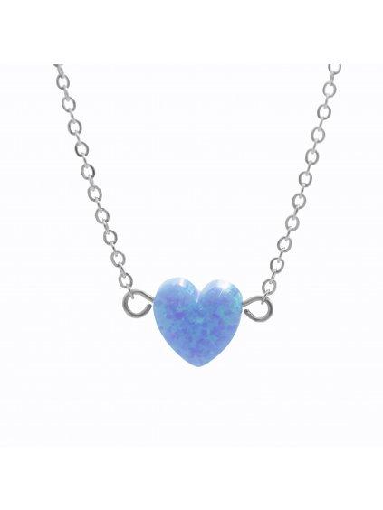 J61300931blOcelový náhrdelník Srdíčko opálové Blue
