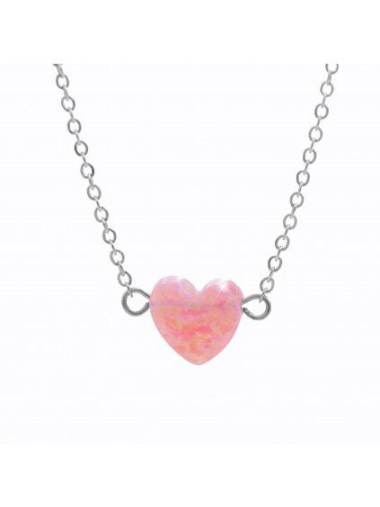 J61300931roOcelový náhrdelník Srdíčko opálové rosa