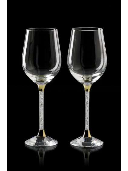 Křišťálové sklenice víno 2ks noha s krystalky SW01 (Barevné provedení Stříbro)