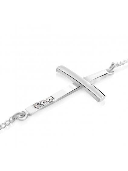 61500405cr (2)Náramek křížek ležící Swarovski® Crystal