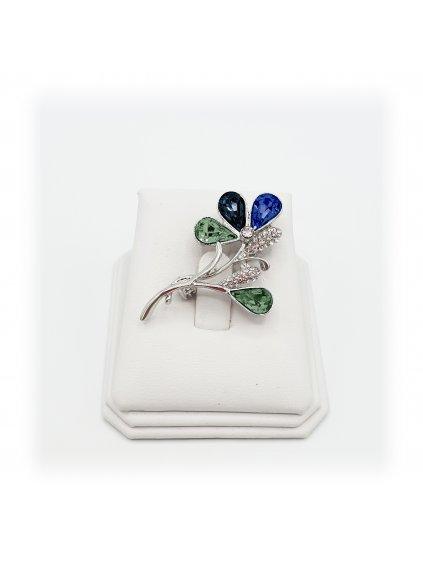 61600321jet Brož Květina s kameny Swarovski® Jet Mix