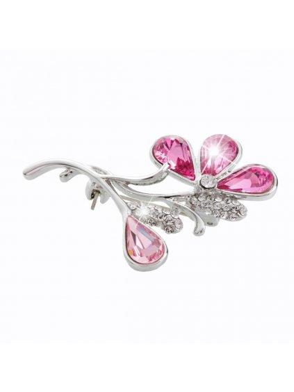 J61600321ro Brož Květina s kameny Swarovski® Rose