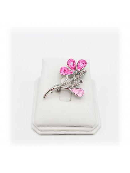 61600321roBrož Květina s kameny Swarovski® Rose
