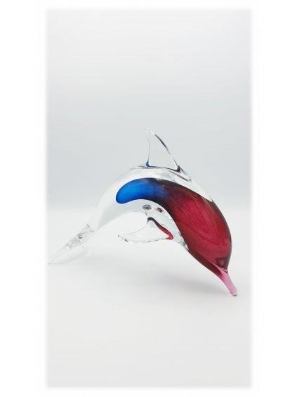 Skleněný delfín - modrorůžový