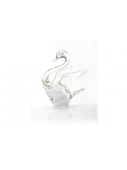 Skleněná labuť malá - bílá s bublinkami