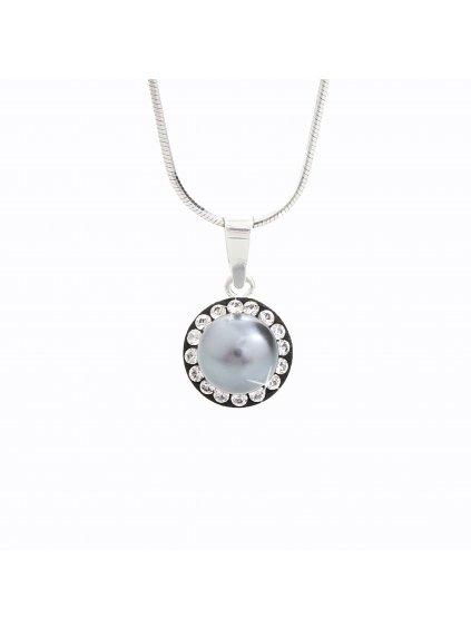 J91300005BD Stříbrný náhrdelník Perla s kameny Swarovski® components