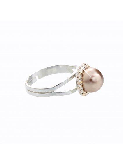 Stříbrný prsten s perlou a křišťálky Swarovski® components IJ91700005BR.