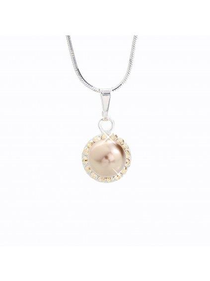 J91300005BR Stříbrný náhrdelník Perla s kameny Swarovski® components