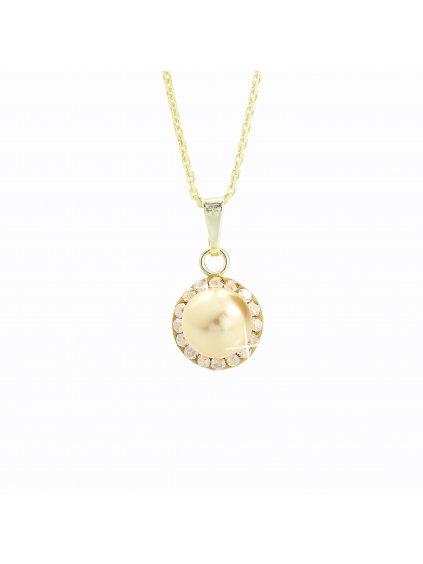 J91300005G-G Stříbrný náhrdelník Perla s kameny Swarovski® components