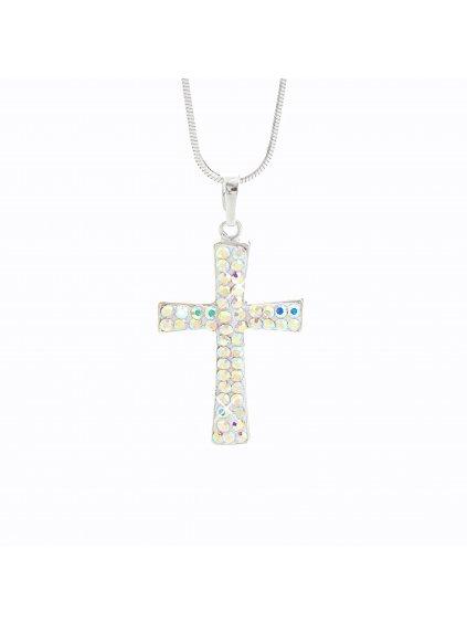 Stříbrný řetízek s přívěskem Swarovski® components Křížek I.