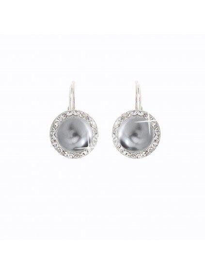 Stříbrné náušnice s perlou a křišťálky Swarovski® components I.