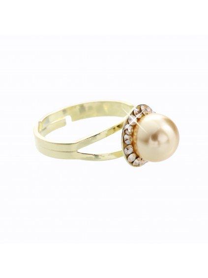 J91700005G-G Stříbrný prsten s perlou a křišťálky Swarovski® components I.