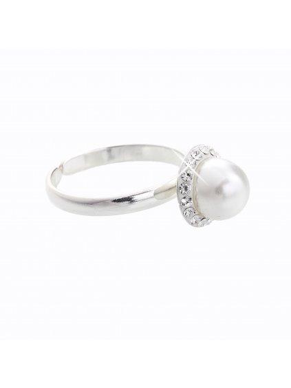J91700005VAR2 Stříbrný prsten s perlou a křišťálky Swarovski® components I.