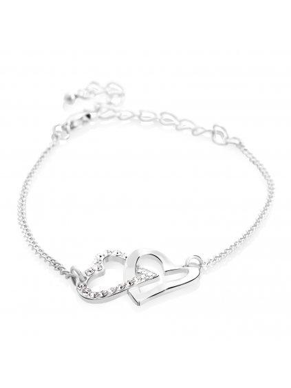 Náramek Propojená srdce s kameny Swarovski® Crystal