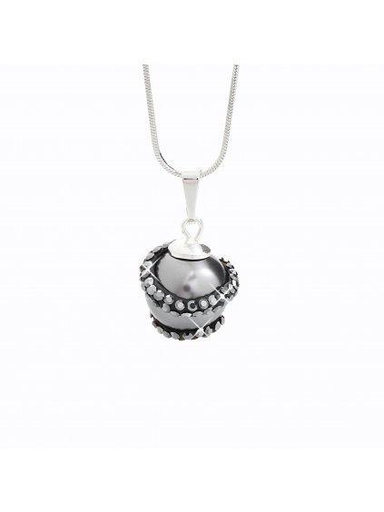 J92300024JET Stříbrný náhrdelník s perlou a křišťálky Swarovski® components I.