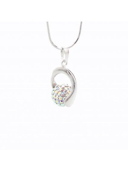 J92300028AB Stříbrný náhrdelník s kuličkou a křišťálky Swarovski® components I.