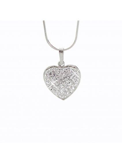 Stříbrný řetízek s přívěskem Srdce VIII. Swarovski® components